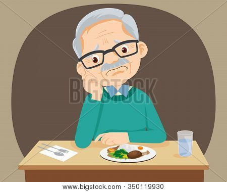 Elderly Woman Bored With Food