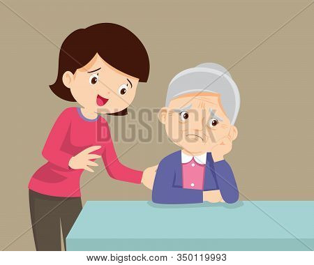 Sad Old Senior Woman , Daughter Talking To Sad Old Mother Comforting Upset Older Woman Having Proble