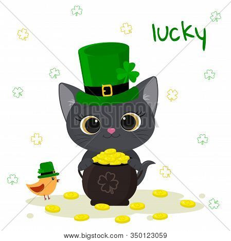St. Patrick S Day Greeting Card. Cute Gray Kitten In A Green Hat Of A Leprechaun Holds A Bowler With