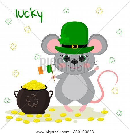 Postcard To The Day Of St. Patrick. Cute Gray Mouse In A Green Leprechaun Hat, Holds The Flag Of Ire