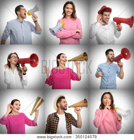 Collage Of People With Megaphones On Light Background