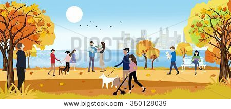 Vector Landscape Of Autumn Park By The Sea With Happy Family Having Fun, Boy Walking The Dog, Women