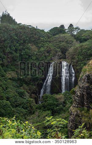 Nawiliwili, Kauai, Hawaii, Usa. - January 16, 2020: White Water Opaekaa Falls Surrounded By Green Fo