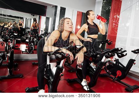 Tired Girls Are Training At The Gym. For Lifestyle Design. Fitness Girl Training. Healthy Lifestyle.