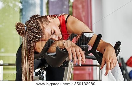 Tired Girl Are Training At The Gym. For Lifestyle Design. Fitness Girl Training. Healthy Lifestyle.