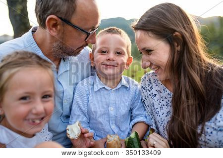 Young Family With Two Small Children On Meadow Outdoors, Having Picnic.