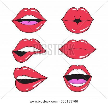 Woman Lips With Smile, Kiss. Mouths Collection Of Girl Retro Style For Comic Book. Female Open Mouth