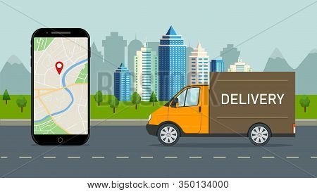 Delivery Truck With Online Service In Mobile App. Logistic Route Of Lorry In City. Parcel Shipment I