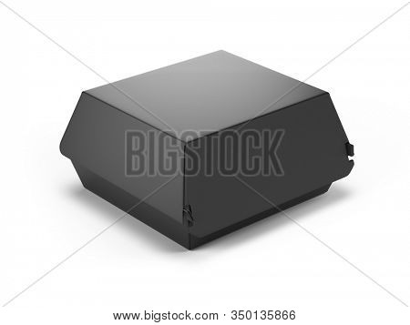 Black food box isolated on white background. Packaging for burger, lunch, fast food, sandwich. Product pack template. 3d rendering