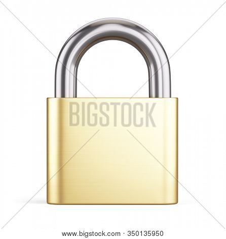 Closed Golden Metal Padlock Icon Isolated on White Background. Concept of Steel Lock for Protection Privacy, 3d realistic rendering.