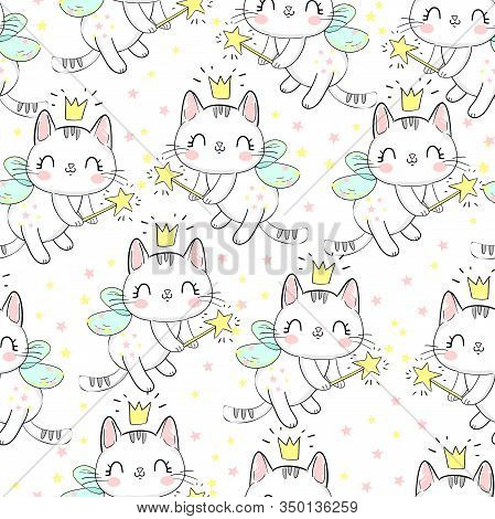 Cat With Wings And Wand Pattern. Childish Design Print Seamless. Background Vector Illustration.