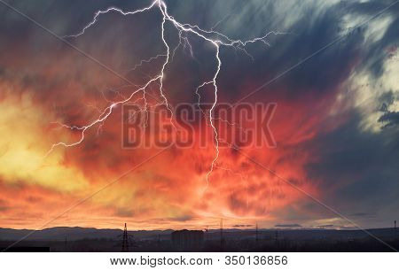 Sky Glows With The Fiery Colors Of A Fabulous Sunset - The Weather And Climate Change Rapidly With T