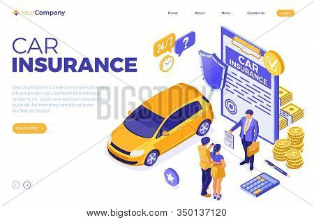 Car Insurance Isometric Concept For Poster, Banner, Advertising With Car Insurance Policy, Calculato