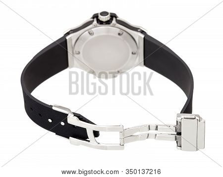 Wristwatch With An Open Lock On A Rubber Strap Of A Silver Watch Back View Isolated On White Backgro