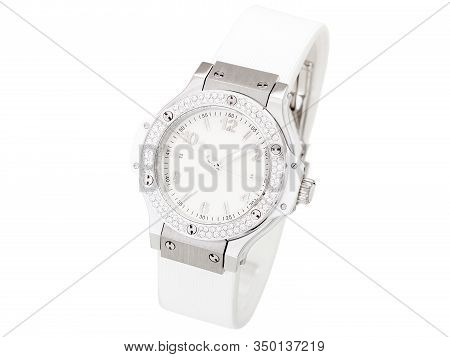 Wristwatch Decorated With Rhinestones Made Of Precious Stones On A Silver Case With A White Dial, Cl
