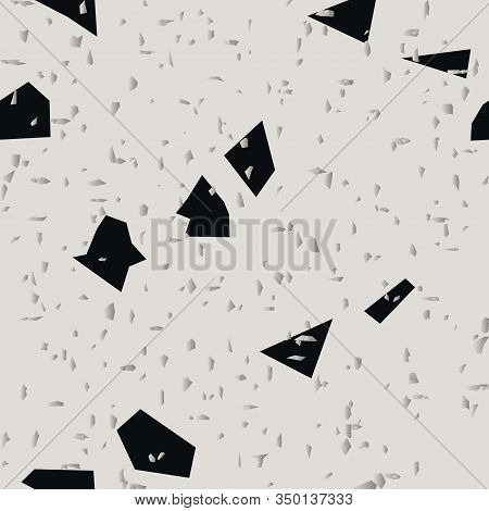 Terrazzo Seamless Pattern. Granite Fragments Texture Backdrop. Italian Flooring In Venetian Style Wi
