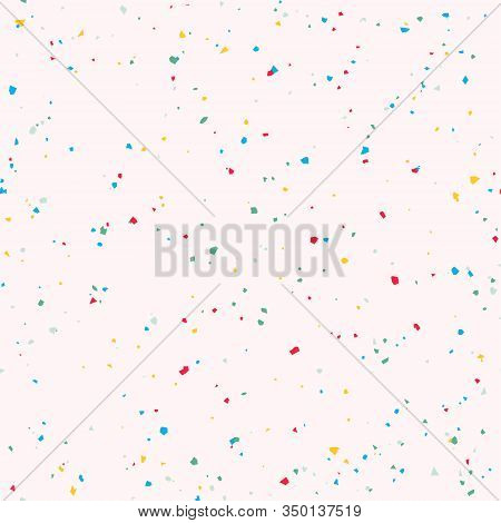 Pink And Turquoise Terrazzo Seamless Pattern. Granite Fragments Texture Backdrop. Italian Flooring I
