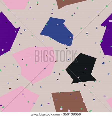 Chaotic Natural Stone In Terrazzo Seamless Pattern. Granite Fragments Texture Backdrop. Italian Floo