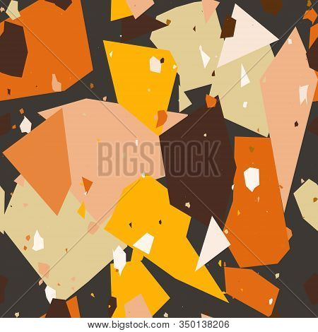 Chaotic Stones Terrazzo Seamless Pattern. Granite Fragments Texture Backdrop. Italian Flooring In Ve