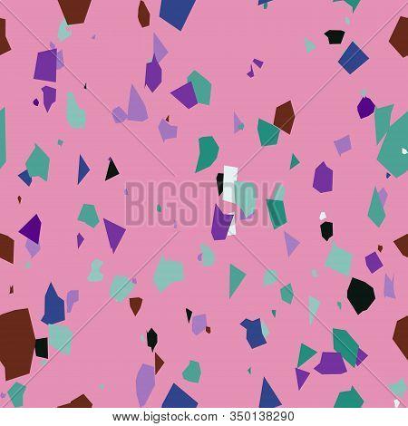 Chaotic Stone Terrazzo Seamless Pattern On Pink Background. Granite Fragments Texture. Italian Floor