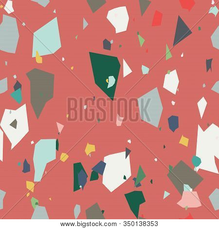 Mosaic Trendy Terrazzo Seamless Pattern. Granite Fragments Texture Backdrop. Italian Flooring In Ven