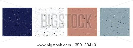 Four Cards With Seamless Pattern Of Italian Terrazzo Trendy Granite Fragments Creative Backdrop. Cha