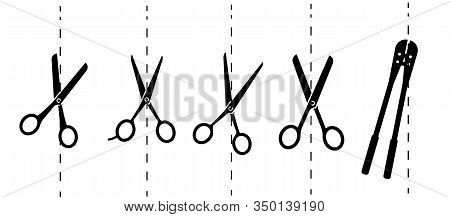 Scissors With Cut Lines. Vector Illustration.paper Cut Icon With Dotted Line. Vector Scissors With C