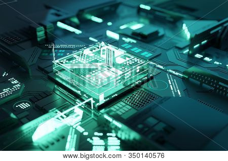 Futuristic Green Quantum Computing Cpu Processor Concept. 3d Illustration