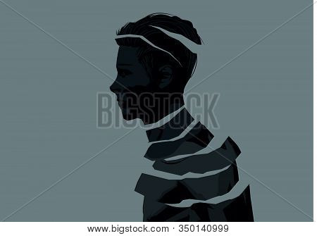 A Fragmented Man. Mental Wellbeing And Issues Concept. People Vector Illustration.