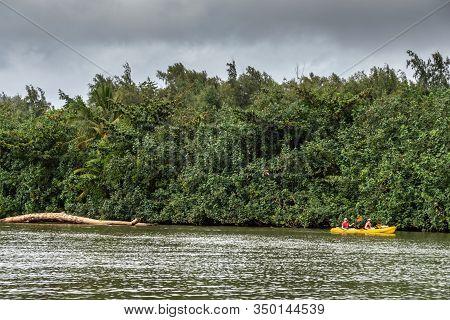 Nawiliwili, Kauai, Hawaii, Usa. - January 16, 2020: Yellow Canoe With 2 People On Greenish South For