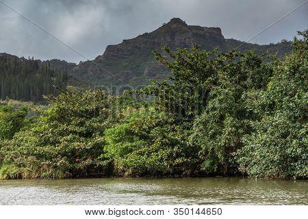 Nawiliwili, Kauai, Hawaii, Usa. - January 16, 2020: Greenish South Fork Wailua River In Front Of Gre
