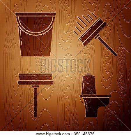 Set Toilet Bowl , Bucket , Squeegee, Scraper, Wiper And Squeegee, Scraper, Wiper On Wooden Backgroun