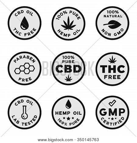 Set Of Cbd Themed Logotypes: Gmo Free Gmp Certified Cbd Oil Logos, Thc Free, Paraben And Pesticides