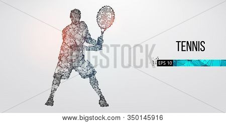 Abstract Silhouette Of Tennis Player Man, Male With Ball And Racket. All Elements On A Separate Laye