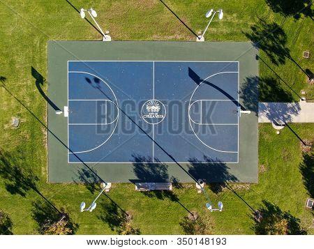 Aerial Top View Of Basketball Field Inside A Park Of Chula Vista City, California, Usa. January 12th