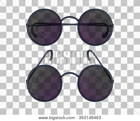 Set Of Realistic Glasses With Round Lenses Isolated On The Transparent Background. Frontal View With