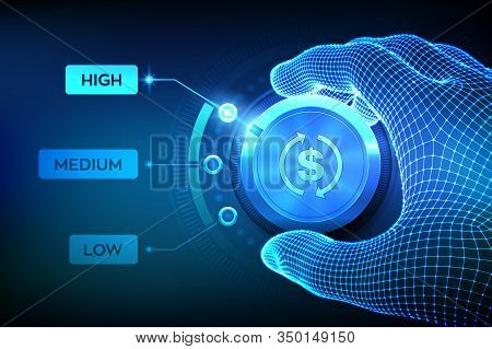 Roi Levels Knob Button. Finance Concept Illustration Of Profitability Or Return On Investment. Wiref