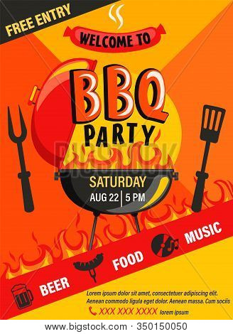 Bbq Party Invitation Flyer.summer Barbecue Weekend Cookout Event With Beer, Food, Music.design Templ