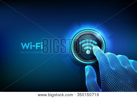 Wi Fi Button. Wireless Network Connection Concept. Closeup Finger About To Press A Button. Using Fre