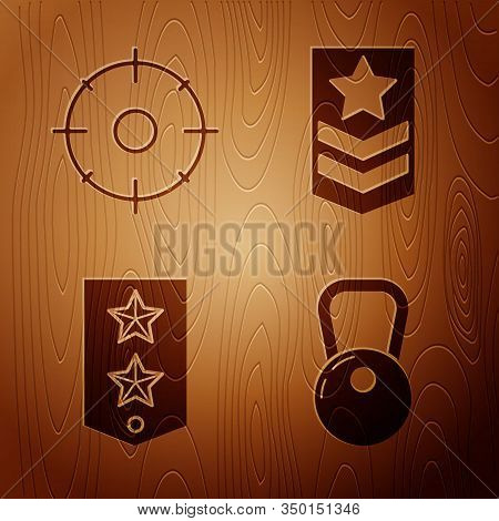 Set Kettlebell , Target Sport For Shooting Competition , Chevron And Chevron On Wooden Background. V