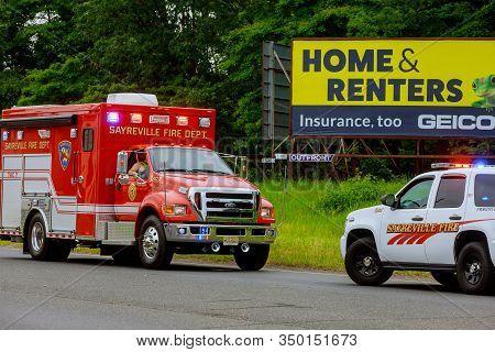 10 February 2020 East Brunswick Nj Usa: Fire Trucks In Fire Department On Emergency 911