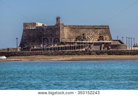 Arrecife, Lanzarote - December 27, 2019: People At The Old Fortress, Castillo De San Gabriel , Off T