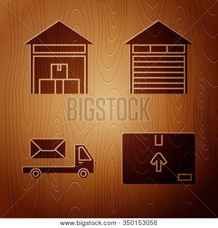 Set Cardboard Box With Traffic Symbol , Warehouse , Post Truck And Closed Warehouse On Wooden Backgr