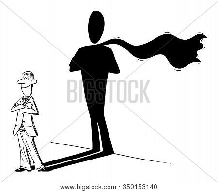 Vector Funny Comic Cartoon Drawing Of Man Or Businessman And His Superhero Or Heroic Shadow On Wall.