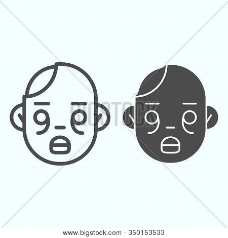 Zombies Line And Solid Icon. Zombie Head With Child Face. Halloween Vector Design Concept, Outline S