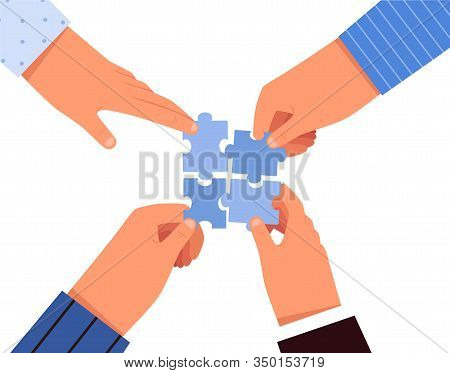 People Make Puzzles With Their Hands Together. Concept Of Team Business Work And Collaboration.