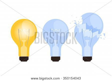 Set Of Burning, Extinct And Broken Lightbulb. The Concept Of The Appearance Or Absence Of A Business