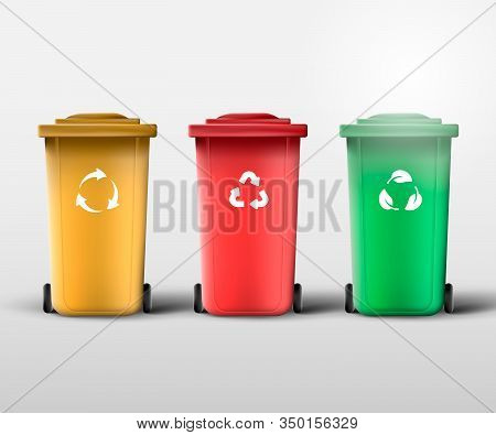 Waste Management. Recycle Bins For Trash And Garbage. Trash Containers With Recycle, Biodegradable A