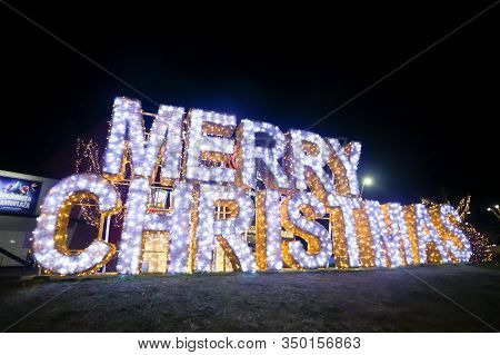 Zagreb, Croatia - December 28, 2019 : A Big Illuminated Sign Merry Christmas In Front Of Shopping Ma