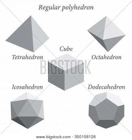 Set Of Gray Volumetric Geometrical Shapes. Regular Polyhedron. Vector Illustration